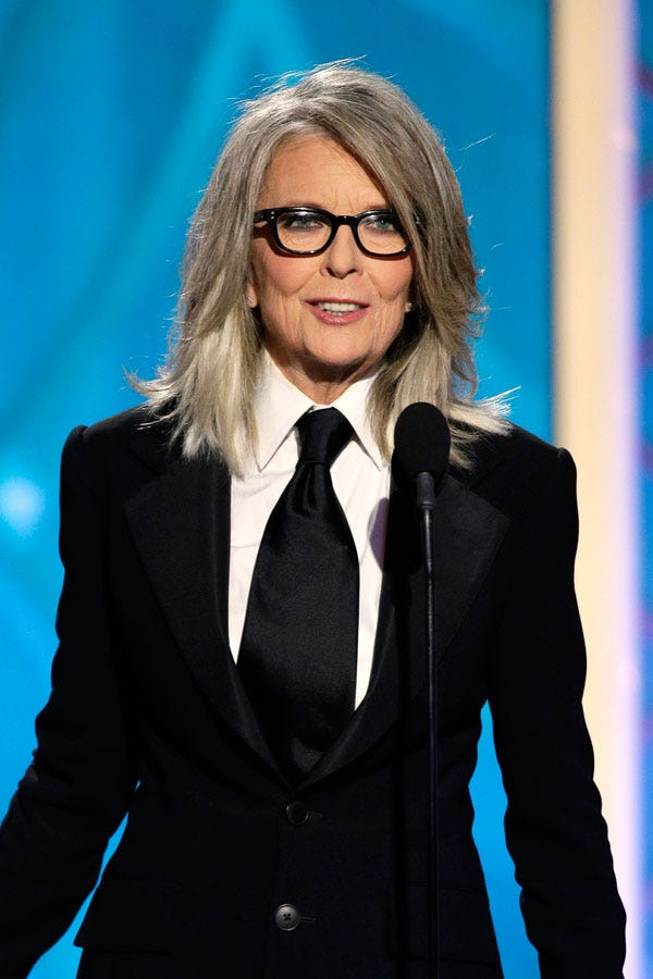 Diane Keaton Gray Hair Golden Globes