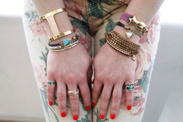 via Refinery29 Left hand from fingers up Vintage turquoise rings