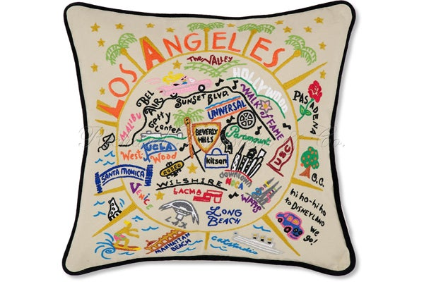 Los Angeles Embroidered Pillow -richardrothstein - $149.00