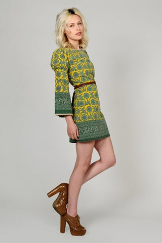Bell Sleeve hippie boho Mini Dress - tinroofvintage - $120