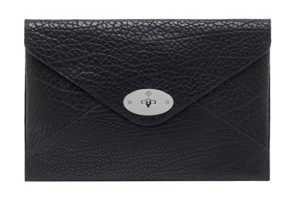 Oversized Willow Clutch Shrunken Calf Black-Nickel