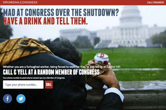 Sick Of The Shutdown? Drunk Dial Congress To Vent