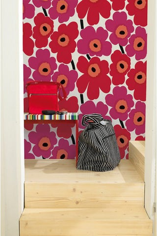 Marimekko Unikko Wallerpaper in Red and Pink-wayfair-$149