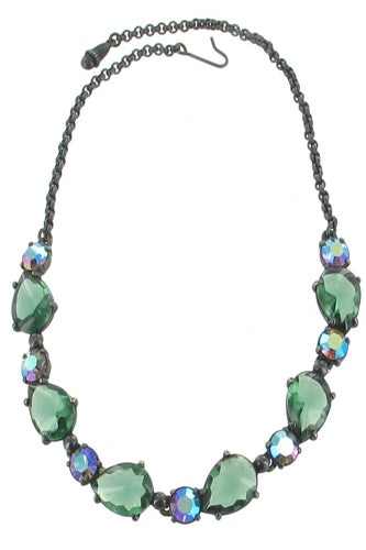 Elsa Schiaparelli Vintage Blackeneed Green Necklace-ellisantique-$1,200