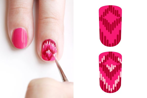 girly-nail-art-ikat-3