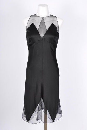 Karl-Lagerfeld-Black-Silk-Sleeveless-Dress