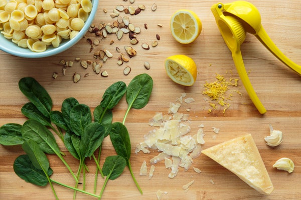 Lemon-Spinach Orecchiette With Toasted Almonds