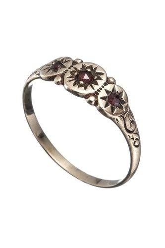 Alexis Bittar 1800s VIctorian 10K Garnet 3-Star Ring