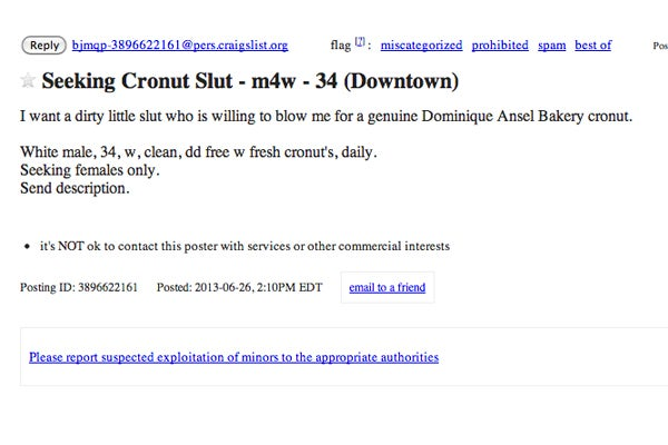 Cronut Blow Job Craigslist Ad - Trading Sex For Cronuts