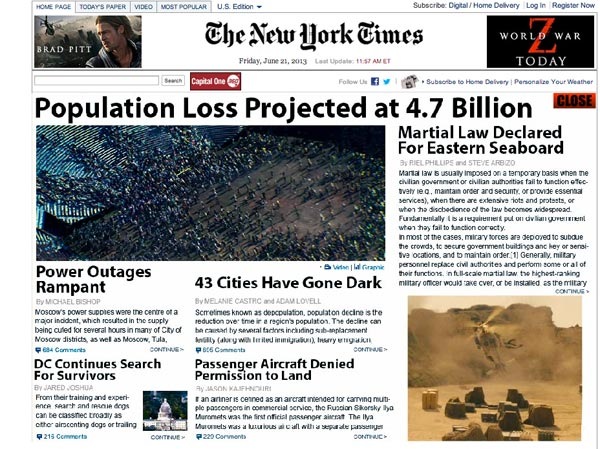 The New York Times World War Z Controversial Ad