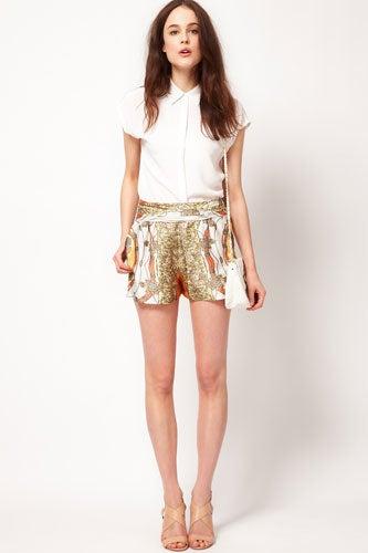 Kookai Chain Scarf Print Shorts