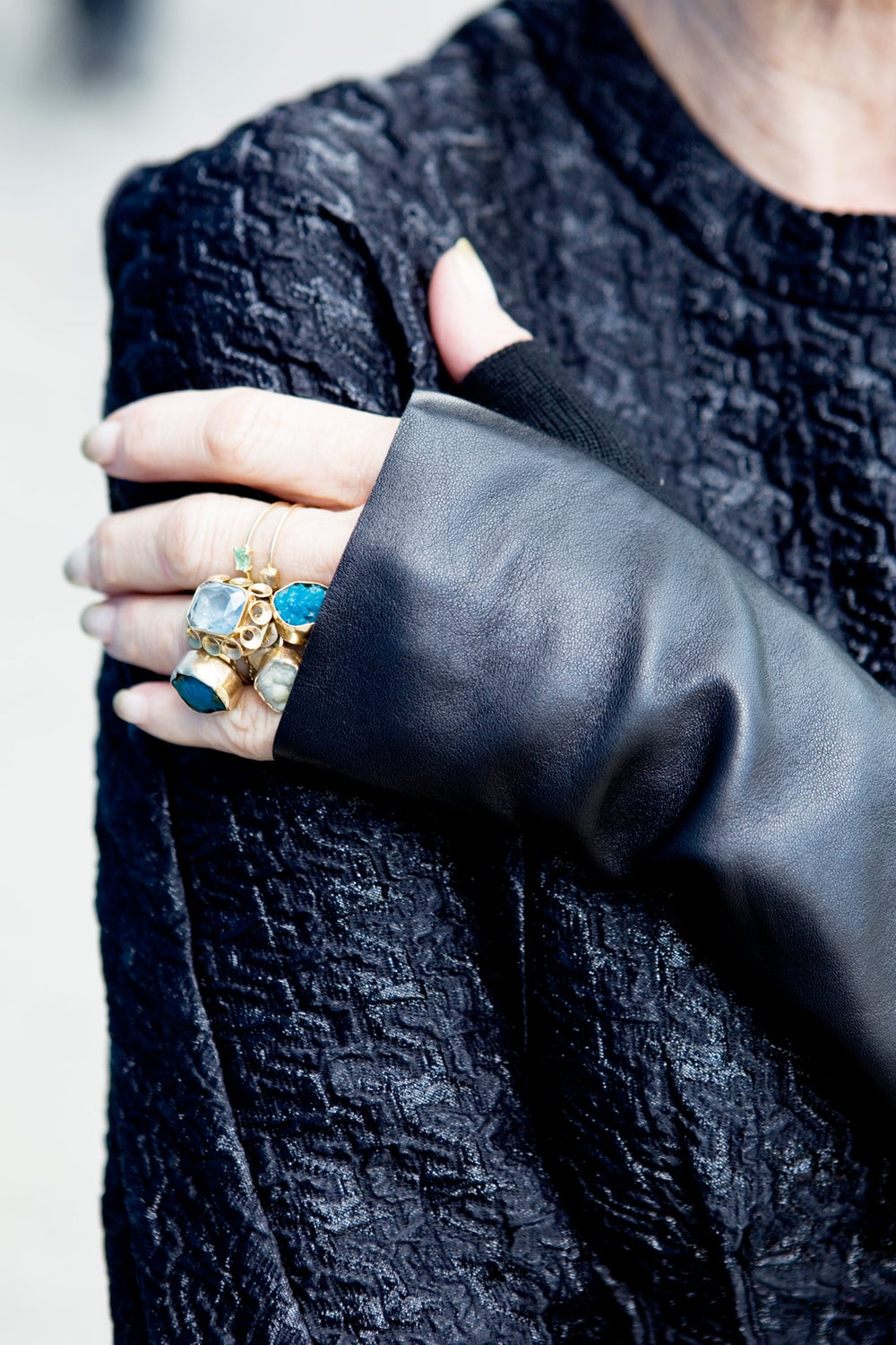 Linda's gloves are from Alexander Wang.