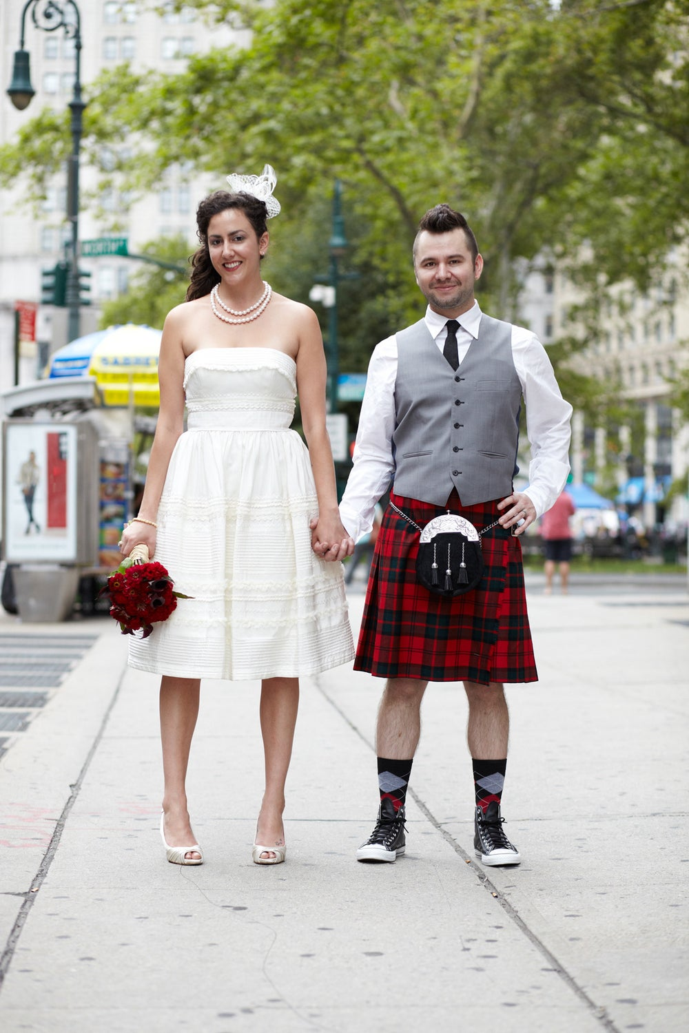 Leah Taylor from Flavorpill and her new hubby, actor Alex Dunbar.