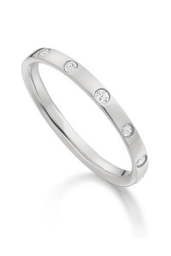 Monica Vinader Gem Ring Diamond and Sterling Silver